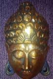 Masca lemn Thailanda 25x17 cm poleita cu foita de aur