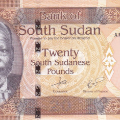 Bancnota Sudanul de Sud 20 Pounds 2016 - P13b UNC