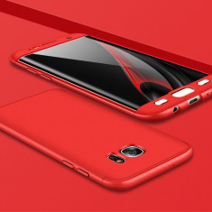 Husa 360 grade pentru Samsung S6 EDGE cu folie de protectie inclusa- RED - Husa Telefon, Samsung Galaxy S6 Edge, Rosu, Carcasa
