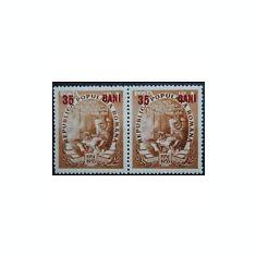 1952 Romania, LP 320a -Planul cincinal(35bani/4lei)-supratipar rosu X 2 buc.-MNH - Timbre Romania, Nestampilat