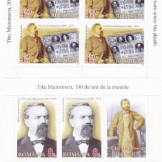 TITU MAIORESCU, MINISHEET 2017, MNH, ROMANIA. - Timbre Romania, Oameni, Nestampilat