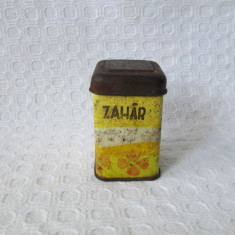 Jucarie romaneasca tabla - cutiuta zahar, jucarie veche comunista - Jucarie de colectie