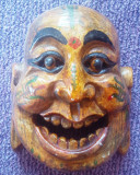 Masca lemn Buda adusa din Malaezia 21x19 cm deosebita