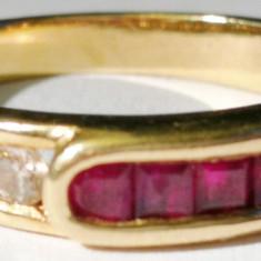 24.Inel aur 3, 4 grame marcat 14 carate cu diamante rubine - Inel diamant, Carataj aur: 14k, Culoare: Alb