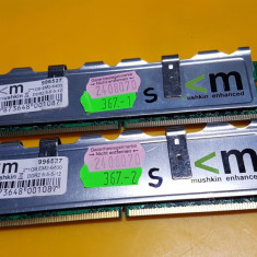 Kit 2GB DDR2 Desktop, 1GBx2, Brand Mushkint, 800Mhz, PC2-6400, CL5, Radiator - Memorie RAM Mushkin, Dual channel