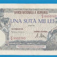 100000 lei 1946 28 Mai 17 aUNC - Bancnota romaneasca