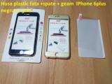 Husa plastic fata +spate + geam  IPhone 6plus negru si  gold, iPhone 6 Plus