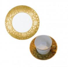 Set 3 piese (ceasca cu farfurie ceai + farfurie desert) CHARDONS PROVENCE GOLD