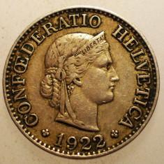 2.589 ELVETIA 10 RAPPEN 1922, Europa, Cupru-Nichel