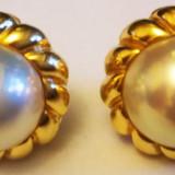 Cercei aur 18, 7 gr. 18 carate diametru 21 mm cu perle mari 15 mm MIKIMOTO Japan, Carataj aur: 18k