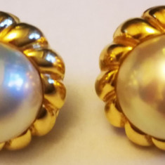 Cercei aur 18,7 gr. 18 carate diametru 21 mm cu perle mari 15 mm MIKIMOTO Japan