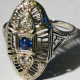 13.Inel vechi art deco cu diamante si safir 3, 2 grame aur alb 18 carate - Inel diamant, Carataj aur: 18k