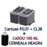 Pachet Cartus CANON PG37 + Cartus CANON CL38 + CADOU 100 ML cerneala BK ( PG-37 CL-38 compatibile ) iP1800 iP1900 iP2600 MP140 MP190 MP210 MP220...