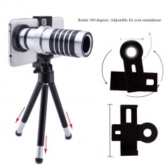 Kit Vision Zoom Lens pentru smartphone, zoom 12 X, holder si trepied