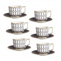 Set 6 cesti cu farfurii ceai/cafea RENAISSANCE GOLD