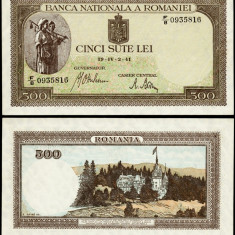 500 LEI 02 aprilie 1941 filigran orizontal UNC necirculata - Bancnota romaneasca
