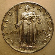 2.651 VATICAN PAPA PIUS XII JUSTITIA 5 LIRE 1951, Europa, Aluminiu