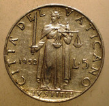 2.656 VATICAN PAPA PIUS XII JUSTITIA 5 LIRE 1952, Europa, Aluminiu