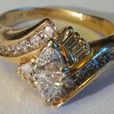 3. Inel aur 3, 3 grame 10 carate cu diamante mari - Inel diamant, Carataj aur: Nespecificat, Culoare: Galben