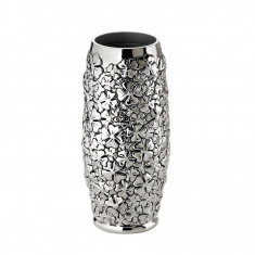 Vaza argintata cu model trifoi h 20, 5cm - Vaza si suport flori