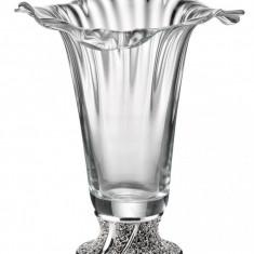 Vaza sticla cu picior argintat Rose - Vaza si suport flori