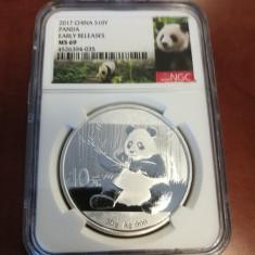 China - 10 Y 2017 Panda - 30 gr .999 Argint - NGC MS69, Asia