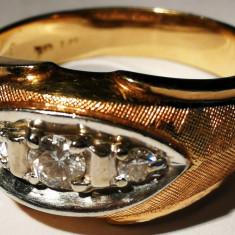 8. Inel barbatesc aur 14 carate 8, 9 grame cu 3 diamante - Inel diamant, Carataj aur: 14k, Culoare: Galben