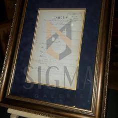 CAROL I SI ALEXANDRU LAHOVARI, DOCUMENT DE CANCELARIE, ORDINUL COROANA ROMANIEI, SEMNATURI OLOGRAFE !!!, 1892 - Carte Fotografie