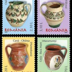 2007 - Ceramica romaneasca, oale si cani II serie neuzata - Timbre Romania