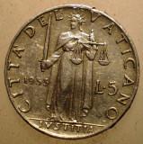 2.655 VATICAN PAPA PIUS XII JUSTITIA 5 LIRE 1953, Europa, Aluminiu