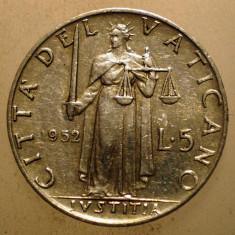 2.650 VATICAN PAPA PIUS XII JUSTITIA 5 LIRE 1952, Europa, Aluminiu