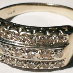10.Inel aur alb 2, 7 gr 14 carate cu diamante pe 3 randuri - Inel diamant, Carataj aur: 14k