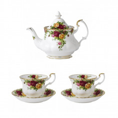 Set 2 cesti cu farfurii ceai + Ceainic Old Country Roses - Ceasca