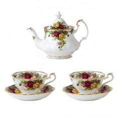Set 2 cesti cu farfurii ceai + Ceainic AVON Old Country Roses - Ceasca