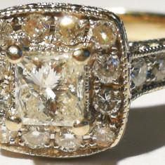 7. Inel aur alb 4, 5 grame 14 carate cu 20 diamante mici+unul mare - Inel diamant, Carataj aur: Nespecificat, Culoare: Galben