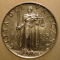 2.657 VATICAN PAPA PIUS XII JUSTITIA 5 LIRE 1953, Europa, Aluminiu