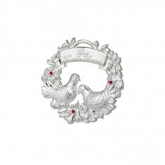 Decoratiune Lismore argintata Doi Porumbei