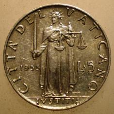 2.654 VATICAN PAPA PIUS XII JUSTITIA 5 LIRE 1953, Europa, Aluminiu