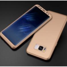 Samsung S8 Plus Husa Plastic Gold, Aurie 360 Fata + Spate + Folie Silicon - Husa Telefon, Auriu, Carcasa