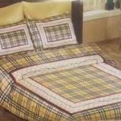 LENJERIE PAT DUBLU MATRIMONIAL 6 PIESE CREM BEJ NEGRU ROSU SATIN BUMBAC - Lenjerie de pat, Bumbac Satinat