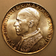 A.281 VATICAN PAPA PIUS XII 5 LIRE 1940 AUNC ARGINT 5g, Europa