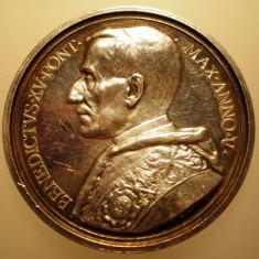 5.637 ITALIA VATICAN MEDALIE PAPA BENEDICT XV 1918 AN V ARGINT 35, 9g ROMAGNOLI, Europa