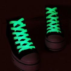 Sireturi fosforescente care lumineaza verde, 110 cm, material textil