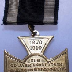 I.704 GERMANIA DECORATIE COMEMORARE 40 ANI VICTORIE Weissenburg Wörth 1910 36mm