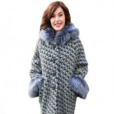 Jacheta cu gluga din lana, gri, cu design pepit si insertii de blana (Culoare: GRI, Marime: 54) - Jacheta dama