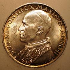 A.297 VATICAN PAPA PIUS XII 5 LIRE 1940 AUNC ARGINT 5g, Europa