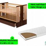 Patut Cu Sertar Klups Paula Natur Wenge + Saltea 12 Mykids Mydreams - Patut lemn pentru bebelusi