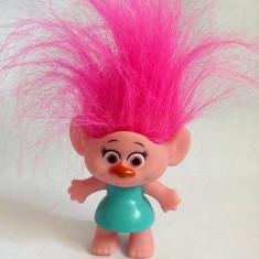 Papusa Troll (pitic, trol) fetita din filmul Trolii, cauciuc, 7cm, par roz