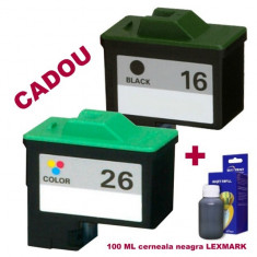 Pachet Cartus negru Lexmark-16 + Cartus color Lexmark-26 ( Lexmark16 10N0016 Lexmark 16 + Lexmark26 10N0026 Lexmark 26 ) compatibile - Cartus imprimanta