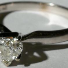 4. Inel aur alb 2, 3 grame 14 carate cu diamant mare(apr.5x4 mm) forma de inima - Inel diamant, Carataj aur: Nespecificat